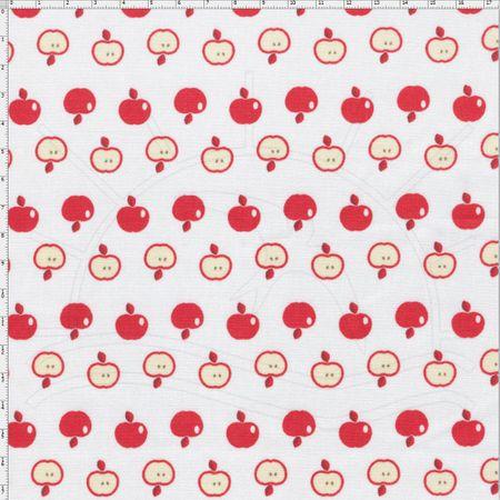 Tecido Estampado para Patchwork - Coleção Frutas Apple Cor 01 Branco (0,50x1,40)