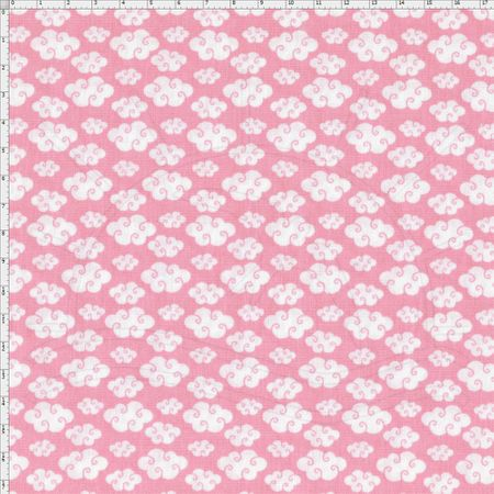 Tecido Estampado para Patchwork - Corujinha Nuvens Cor 02 Rosa (0,50x1,40)