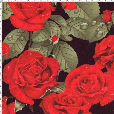 Tecido Estampado para Patchwork - Digital Rosas Vermelhas (0,50x1,40)
