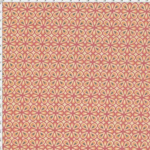 Tecido Estampado para Patchwork - Flor Francesa Coral T04403 (0,50x1,40)