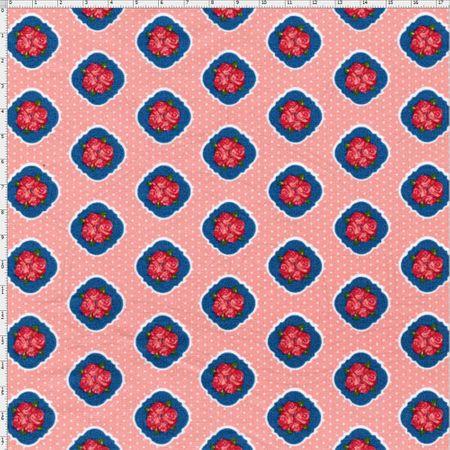 Tecido Estampado para Patchwork - Floral Veneza Rosa e Anil Cor 1930 (0,50x1,40)