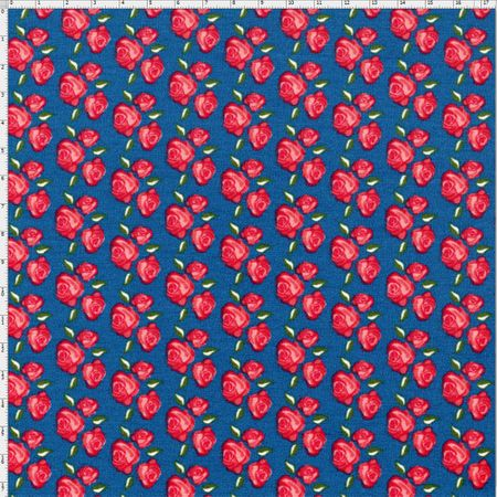 Tecido Estampado para Patchwork - Floral Veneza Rosa e Anil Cor 1927 (0,50x1,40)