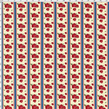 Tecido Estampado para Patchwork - Floral Veneza Rosa e Anil Cor 1928 (0,50x1,40)