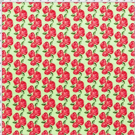 Tecido Estampado para Patchwork - Floral Veneza Rosa e Verde Cor 1933 (0,50x1,40)