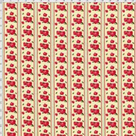 Tecido Estampado para Patchwork - Floral Veneza Rosa e Verde Cor 1934 (0,50x1,40)