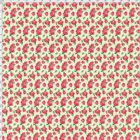 Tecido Estampado para Patchwork - Floral Veneza Rosa e Verde Cor 1935 (0,50x1,40)