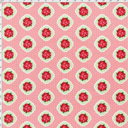Tecido Estampado para Patchwork - Floral Veneza Rosa e Verde Cor 1936 (0,50x1,40)