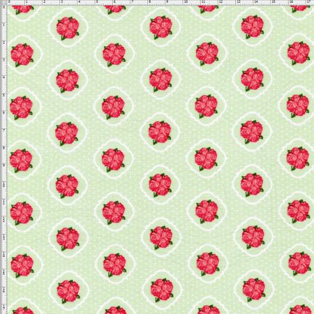 Tecido Estampado para Patchwork - Floral Veneza Rosa e Verde Cor 1937 (0,50x1,40)