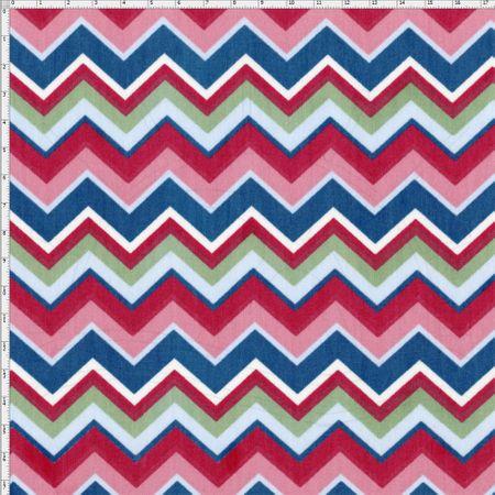 Tecido Estampado para Patchwork - Fluorita Chevron Rosa Cor 1 (0,50x1,40)
