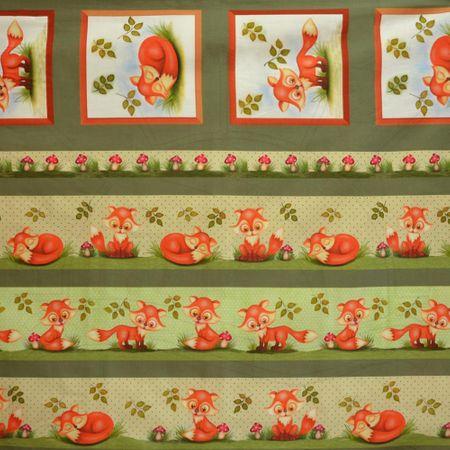 Tecido Estampado para Patchwork - Fox Raposas Verde (0,40x1,40)