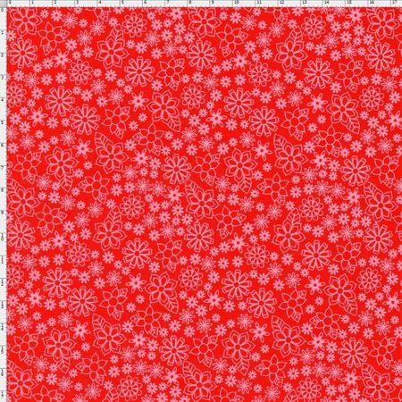 Tecido Estampado para Patchwork - Garden Mini Floral Cor 05 Vermelho (0,50x1,40)