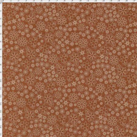 Tecido Estampado para Patchwork - Garden Mini Floral Cor 14 Marrom (0,50x1,40)