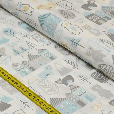 Tecido Estampado para Patchwork - Inspiração Escandinava: Casinha com Urso Cinza (0,50x1,50)