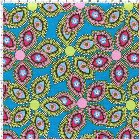 Tecido Estampado para Patchwork - Luminous By Carol Viana: Blue Petals (0,50x1,40)