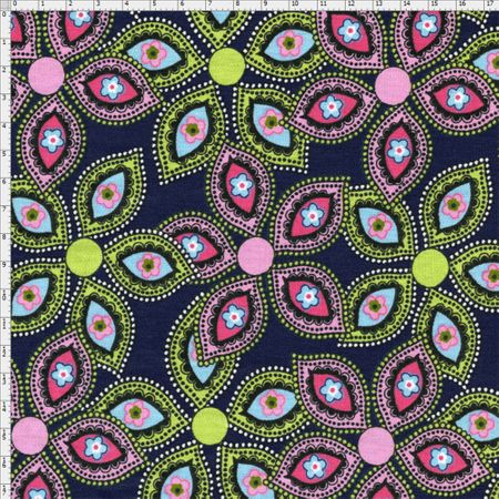 Tecido Estampado para Patchwork - Luminous By Carol Viana: Navy Petals (0,50x1,40)