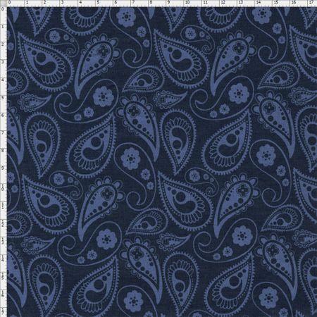 Tecido Estampado para Patchwork - Luminous By Carol Viana: Navy Shadow (0,50x1,40)