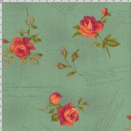 Tecido Estampado para Patchwork - Millyta La Vie En Rose Rosas Vinho com Escritas Verde (0,50x1,40)