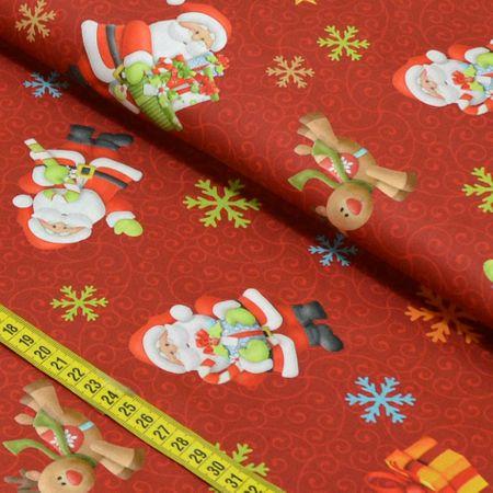 Tecido Estampado para Patchwork - Natal: Noel e Rudolph Vermelho (0,50x1,40)