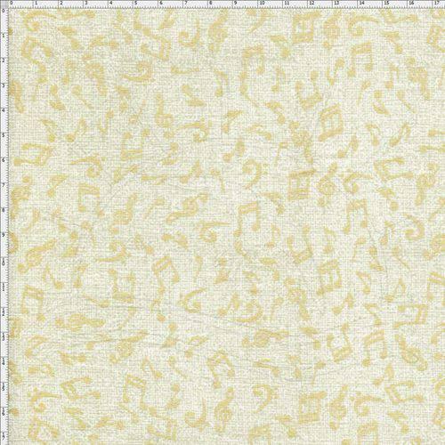 Tecido Estampado para Patchwork - Notas Musicais com Textura Bege Cor 03 (0,50x1,40)