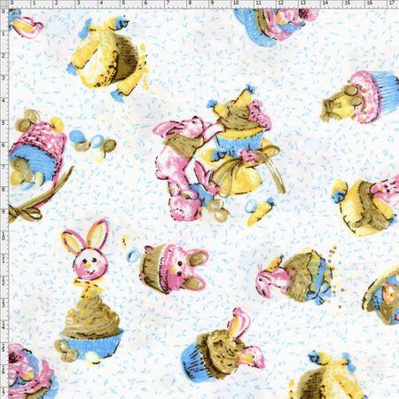 Tecido Estampado para Patchwork - Páscoa Cupcake de Páscoa Cor 2 (0,50x1,40)