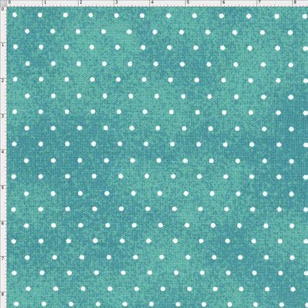Tecido Estampado para Patchwork - Poeirinha com Poá Cor 2126 Tiffany (0,50x1,40)