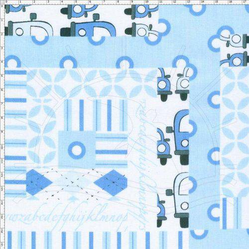 Tecido Estampado para Patchwork - Py001 Patchouly Logcabin Azul Cor 01 (0,50x1,40)