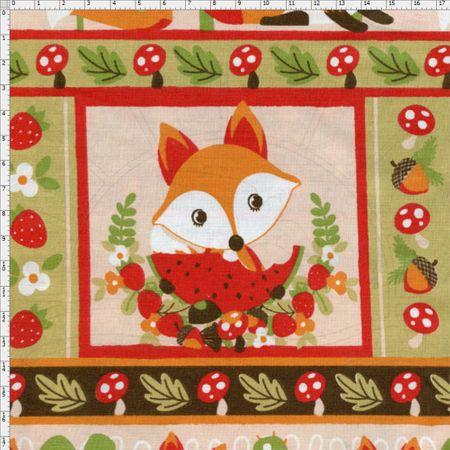 Tecido Estampado para Patchwork - Raposas Cor 1988 (0,50x1,40)