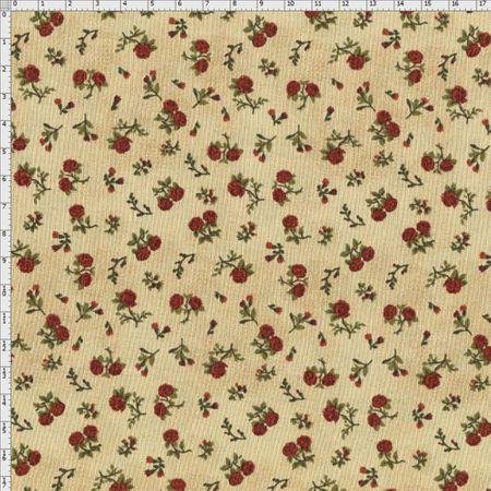 Tecido Estampado para Patchwork - Sunbonnet Rosas Vermelha com Fundo Bege Claro (0,50x1,40)