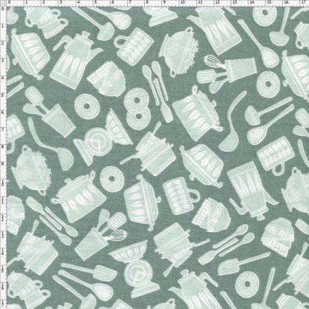 Tecido Estampado para Patchwork - Utensílios Cozinha Cor 2028 (0,50x1,40)