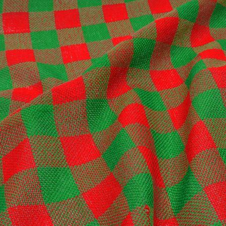 Tecido Juta Estilotex - Xadrez Verde com Vermelho (0,50x1,40)