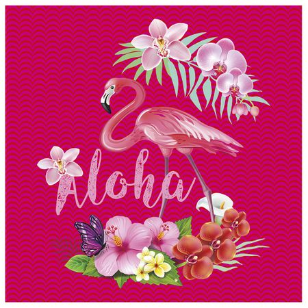 Tecido Quadrado Digital 49 X 49cm - Flamingo Aloha
