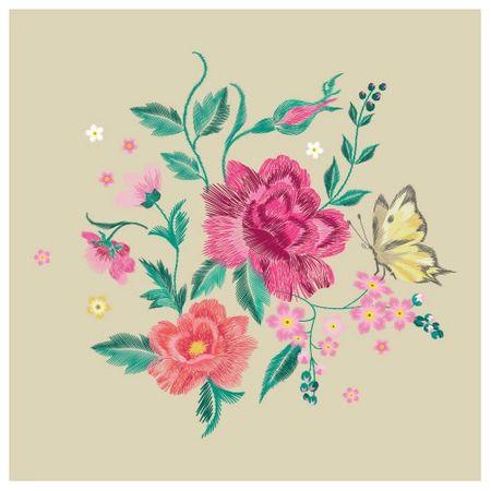 Tecido Quadrado Digital 49 X 49cm - Floral - 8122