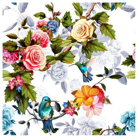 Tecido Quadrado Digital 49 X 49cm - Floral - 8125