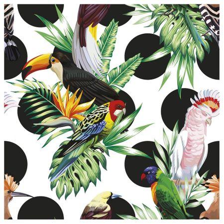 Tecido Quadrado Digital 49 X 49cm - Pássaros Fundo Bolas