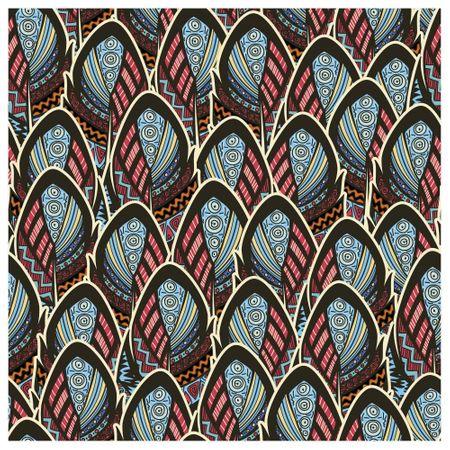 Tecido Quadrado Digital 49 X 49cm - Penas Coloridas