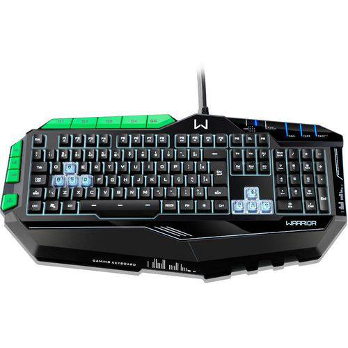 Teclado Gamer Warrior Semi Mecânico Abnt2 Preto e Verde com Led - Tc199