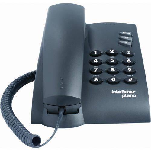 Telefone C/ Fio Pleno Preto, 2 Tipos de Toque, 3 Níveis de Volume de Campainha C/Chave - Intelbras