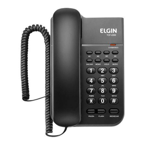Telefone com Fio com Chave Preto Tcf2200 Elgin