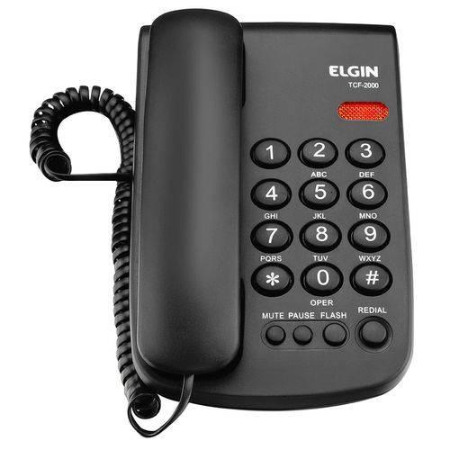 Telefone com Fio Elgin Tcf2000 Preto - Bloqueio de Chamadas, Pause e Controle Volume da Campainha