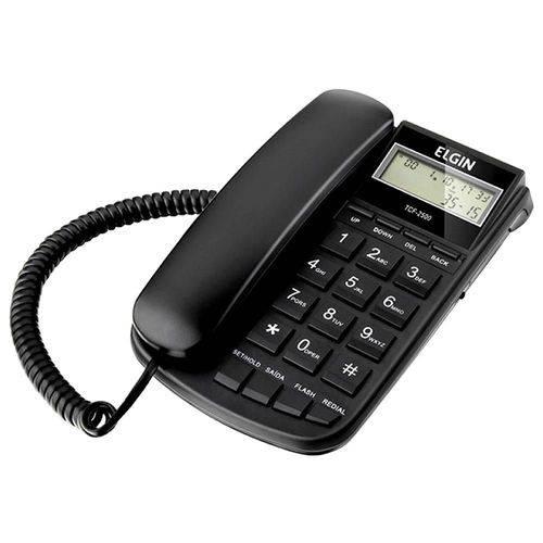 Telefone com Fio Identificador de Chamadas Tcf2500 Preto Elgin