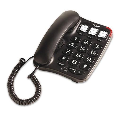 Telefone com Fio Preto, Chave Bloqueadora, Viva-Voz e Agenda Telefônica TCF 2300 - Elgin