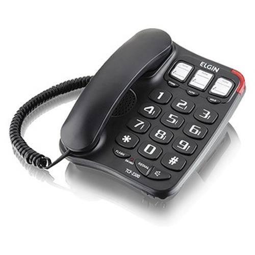 Telefone com Fio - Viva Voz - Números de Fácil Visualização (3 Idade) - Tcf 2300 Preto