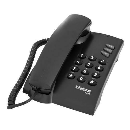 Telefone Fixo com Fio Mesa Parede Preto Pleno Intelbras