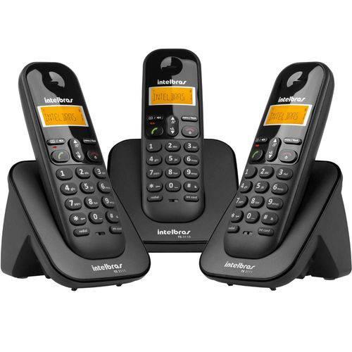 Telefone Intelbras Sem Fio Ts-3113 Preto com 02 Ramais