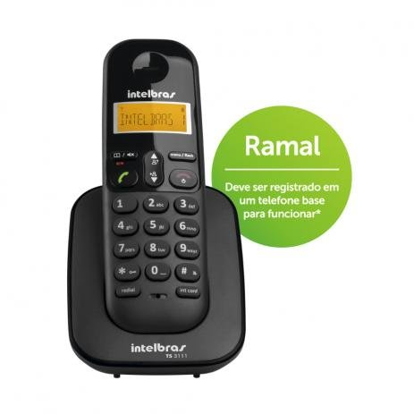 Telefone Intelbras Sem Fio TS3111 Ramal Preto