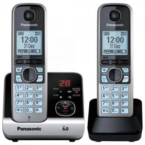 Telefone S/ Fio C/Base+Ramal Kx-TG6722 Preto/Prata Panasonic
