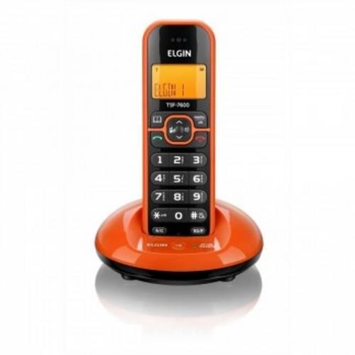 Telefone Sem Fio com Dect 6.0 de 1.9GHz, Identificador e Viva Voz Elgin TSF7600 Laranja