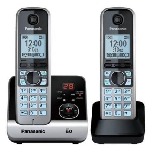 Telefone Sem Fio Combo Base 1 Ramal Preto e Prata Panasonic Kx-Tg6722lbb