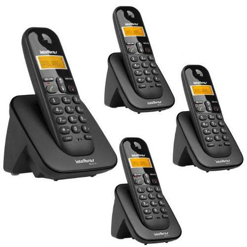 Telefone Sem Fio Intelbras Ts 3110 Preto 1,9 Ghz Dect 6.0 + 3 Ramal Sem Fio Intelbras Ts 3111 Preto 1,9 Ghz Dect 6.0