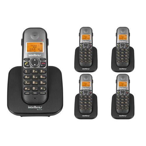 Telefone Sem Fio Intelbras Ts 5120 Viva-voz 1,9 Ghz Dect 6.0 + 4 Ramal Ts 5121 Viva-voz 1,9 Ghz Dect 6.0